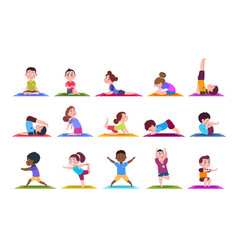 Yoga kids cartoon children doing yoga sporting vector