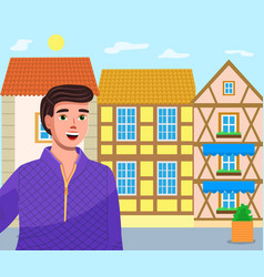 young guy tourist on old town street colorful vector image
