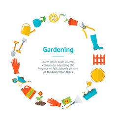 cartoon gardening equipment banner card circle vector image