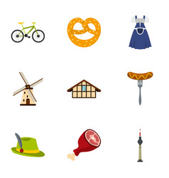 culture features of germany icons set flat style vector image vector image