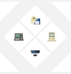 flat icon computer set of pc computing vector image