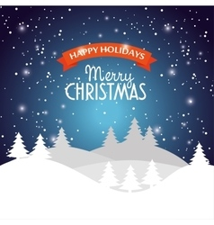 happy holidays merry christmas landscape snow star vector image vector image
