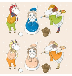 snowmaiden goat sheep vector image vector image