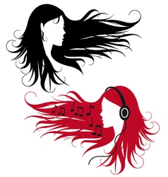 woman with curly long hair vector image vector image