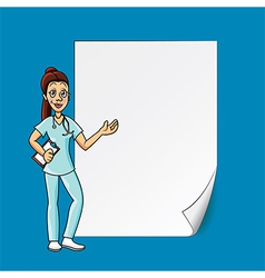 cartoon doctor blank paper vector image vector image