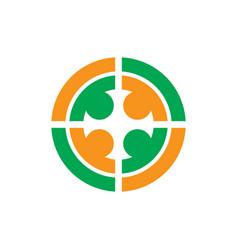 circle people teamwork logo vector image