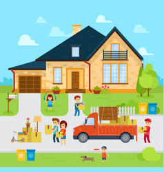 people moving into a new home stock flat vector image vector image