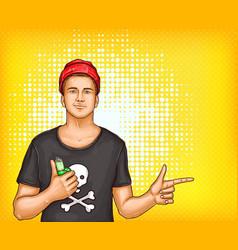 pop art man in tshirt cap holding vape vector image vector image