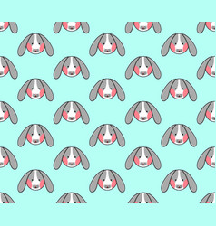 rabbit seamless on blue mint background vector image vector image