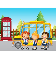 Students standing by the school bus vector image vector image