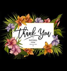 summer horizontal tropical vintage floral greeting vector image