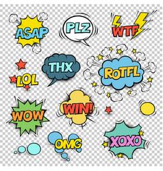 thx asap plz wtf lol rotfl wow win omg xoxo comic vector image vector image