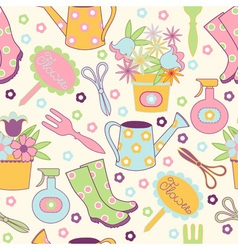 Seamless pattern with garden accessories vector image