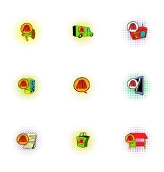 Advertising income icons set pop-art style vector image vector image