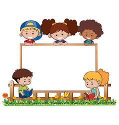 board template with five kids in garden vector image vector image