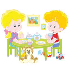children at breakfast vector image