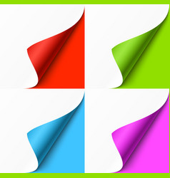 curled colored corners set on color background vector image