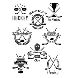 hockey sport awards emblems or icons vector image