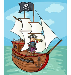 pirate on ship cartoon vector image vector image
