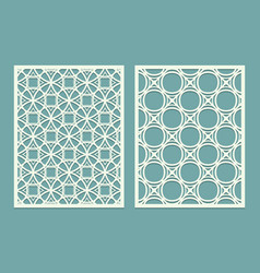 Set of laser cut geometric pattern template wood vector