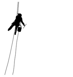 silhouette of industrial climber washes windows on vector image vector image