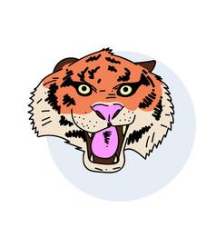 tiger face hand drawn image vector image