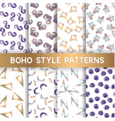trendy creative hand drawn seamless patterns vector image