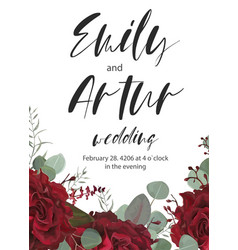 wedding invitation save the date floral cute card vector image vector image