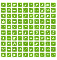 100 animals icons set grunge green vector image