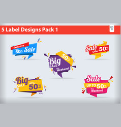 5 sale label designs banners stickers pack 1 vector image