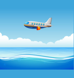 a commercial plane flying over sea vector image