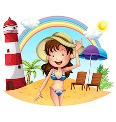 A girl enjoying summer vector image