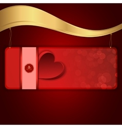 A red banner with heart suspended on a chain to vector
