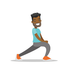 African-american man doing stretching exercise vector