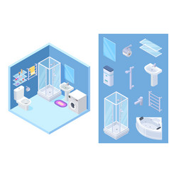 Bathroom isometric shower toilet bath vector