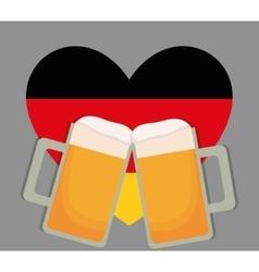 Beer Oktoberfest flag heart icon Germany vector