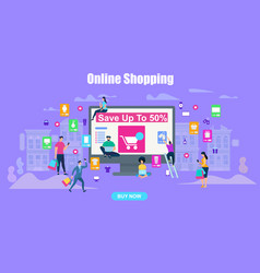 big sale horizontal banner online shopping people vector image