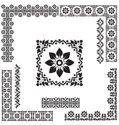 black and white turkish border set vector image