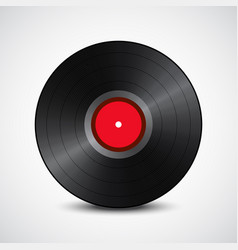 Black vinyl record red in the middle isolated on vector