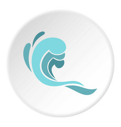 Blue wave icon circle vector
