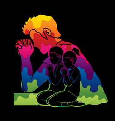Boy and girl prayer christian praying praise god vector