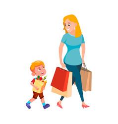 Boy child help woman carrying shopping bag vector