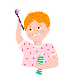 boy with braces brushing teeth smiling vector image