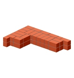 Brickwork Masonry bricks in half Construction of vector