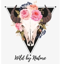 Buffalo skull decorated with flowers vector