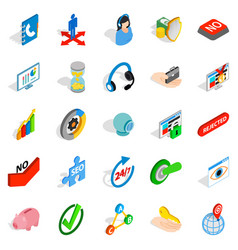 business payment icons set isometric style vector image