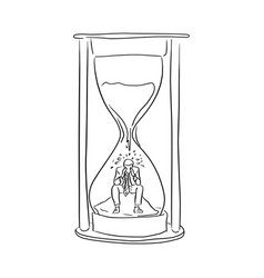 Businessman feeling sad in the big hourglass vector
