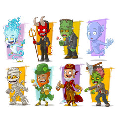 Cartoon cool funny monster characters set vector
