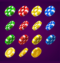 casino chips and coins vector image