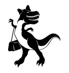 Cheerful dinosaur with handbag vector